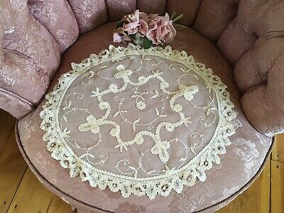 Lovely Antique French Tambour Lace Table Runner Doily Cotton Netting #A88