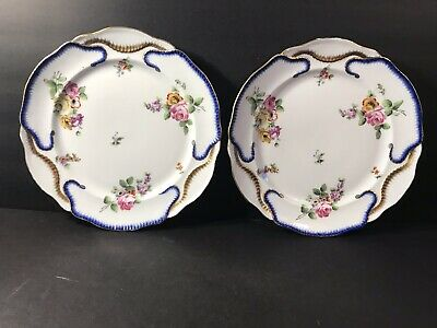 A Pair Of Antique Sevres Porcelain Plate/ Hand Painted/ France C. 1890/ 2 L Mark