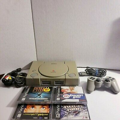 PS1 Playstation 1 Original Console Bundle System with Controller Cords 4 Games
