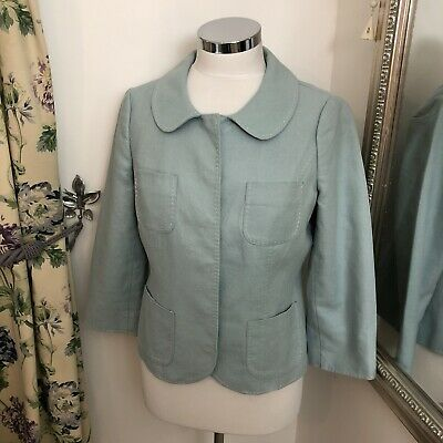 Boden Size 12 Blue linen cotton blend smart jacket blazer work office light VGC