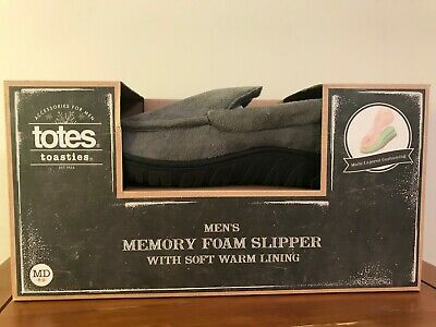 Totes Toasties Mens Memory Foam Slippers Ash Gray Soft Warm Lining Size M 8-9