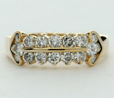 Diamond band ring 14K yellow gold 18 round brilliants channel heart detail .85CT
