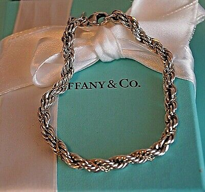 """Tiffany & Co Sterling Silver / 18K Yellow Gold Twisted Rope Bracelet 7 1/4"""""""