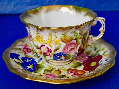 Hammersley & Co QUEEN ANNE Hand Painted Flowers Bone China Cup & Saucer