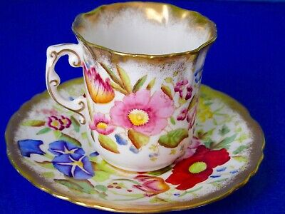 Hammersley & Co QUEEN ANNE Hand Painted Flowers Bone China Coffee Cup & Saucer