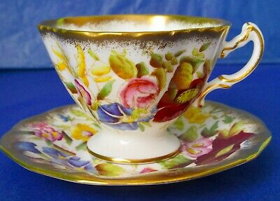 Hammersley & Co QUEEN ANNE Hand Painted Bone China Pedestal Coffee Cup & Saucer