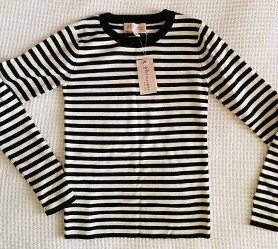 NWT.Philosophy Republic Clothing Women pullover.Size XS. Black/White stripes.