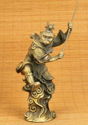 China old bronze hand carving Handsome Monkey King Sun Wukong statue decorate