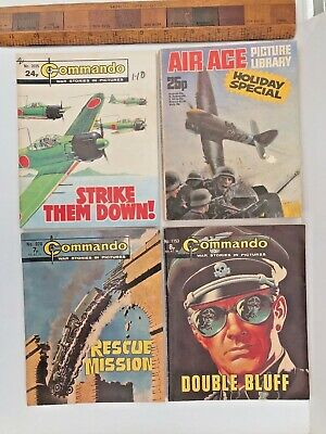 Lot Of 4 Vintage Uk War Comics! Commando! Air Ace Holiday Special! All Vgc +++!