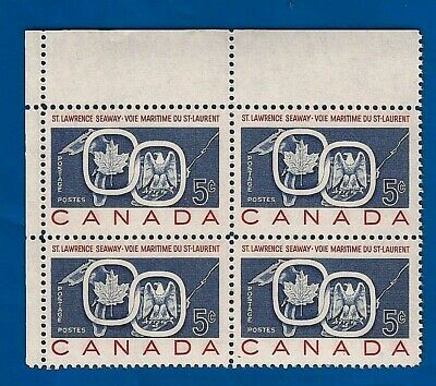 Canada 1959 St Lawrence 387 Seaway Great Lakes postage stamp corner block D MNH