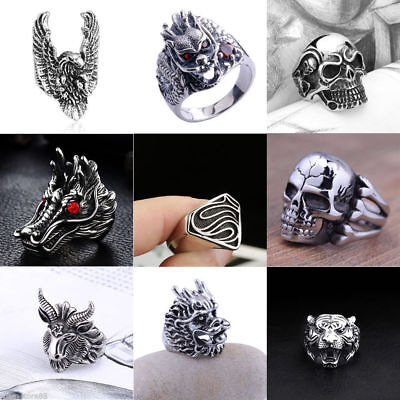 Cool Man Punk Stainless Steel Skull Tiger Sheep Head Finger Ring Jewelry Sz 8-10