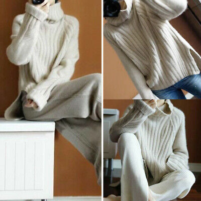Womens Warm Cashmere High-Necked Sweater Long Sleeve Loose Coat Tops Turtleneck