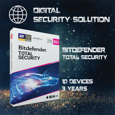 Bitdefender Total Security 2020 10 Devices 3 Years + Invoice + Proof of Genuine