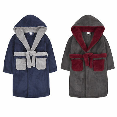 Boys Snuggle Fleece Robe Contrast Hooded Dressing Gown Kids Plush Bathrobe