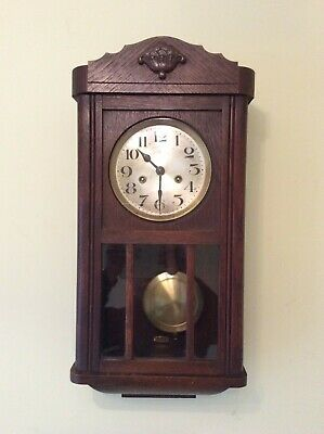 Vintage H A C wall clock, complete, chiming, circa 1930's, cross arrow, Germany.