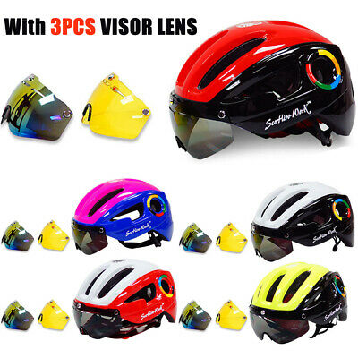 Cycling Helmet Road MTB Mountain Bike Bicycle Protect Helmet With 3 Goggles Lens