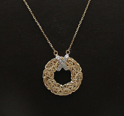 Natural Diamond Accent Round Byzantine Pendant Cable Chain Real 14K Yellow Gold
