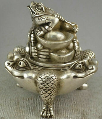 Collection Chinese Tibet Silver Money Toad Incense Burner Censer