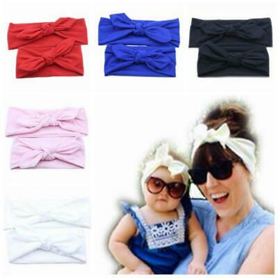 Girl Headwear Rabbit Ear Mommy and Baby Cotton Turban Hairband Headband Knot