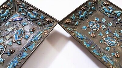 Antique Chinese Export Silver Enameled Opium Trays Set Foo Dogs Chrysanthemums