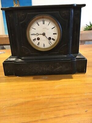 Vintage Slate Mantle Clock With Key