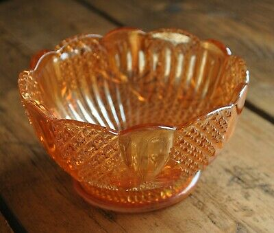 Sowerby Carnival Glass Footed Bowl Bow Pineapple Pattern Lustre Orange Peach