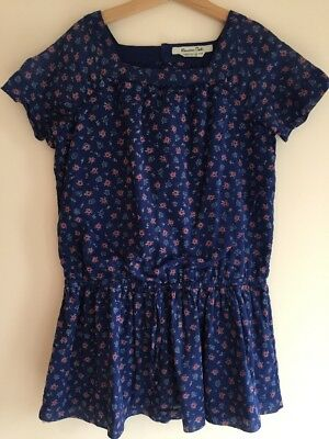 Massimo Dutti 9-10 years girls blue dress, tunic-  floral, lightweight, lined