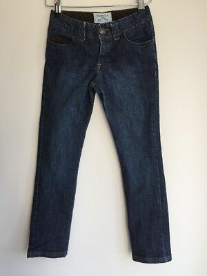 Massimo Dutti, 7-8 years Girls, Denim Jeans, Cord trim, Dark indigo blue