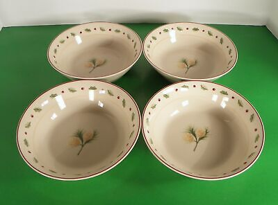 Merry Brite MBT1 Soup Cereal Bowl (s) LOT OF 4 Pinecone and Holly