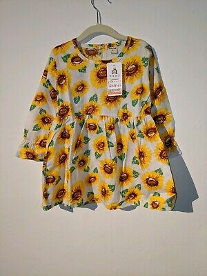 Baby Sunflower Print Casual Party Dress Baby Girls Long Sleeve Dresses 9 12 mont