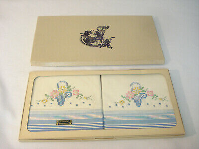 Vintage 1950s Pair of Hand Embroidered Basket of Flowers Pillowcases in Box