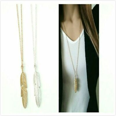 Vintage Jewelry Women Long Chain Gold Silver Bohemian Feather Pendant Necklace