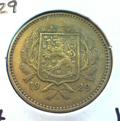 1929-S  Finland 10 Markkaa Coin  - KM#32A - Very Nice Details  (#IN5813)