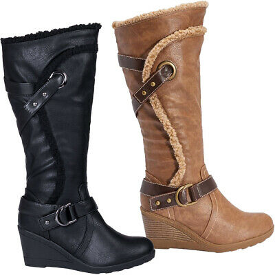 Ladies Knee High Calf Boots Womens Wedges Heel Faux Leather Fur Biker Shoes Size