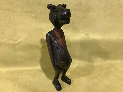 Vtg wood carved hippo head suit man caricature whittled humorous sculpture art