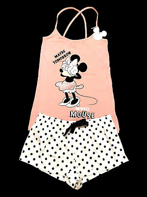 Minnie Mouse Official Disney Ladies Vest Top & Short Pyjama Set Pjs Bnwt Primark
