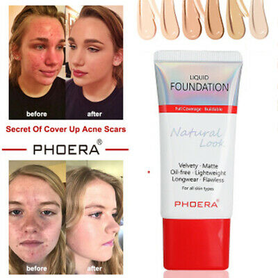 PHOERA Matte Liquid Foundation Full Coverage Makeup Conceale Powder Face Cream