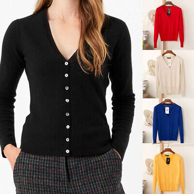 Women V-Neck Cardigan Button Down Long Sleeve Soft Knit Sweater Ladies Size 6-20