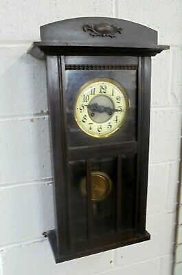 Antique Wall Striking Pendulum Clock With Key Enamel Dial