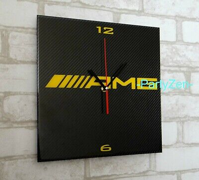 AMG Mercedes inspired Genuine Carbon Round Clock 30cm diameter 3D Wall Decor