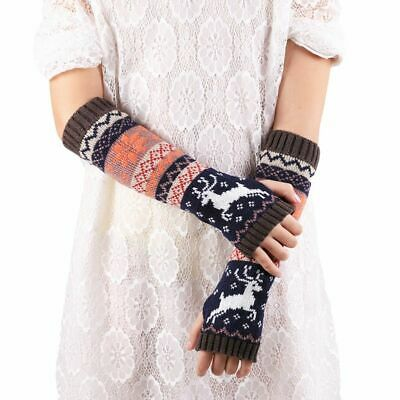 Women's Long Arms Warmer Winter Gloves Geometric Patterns Fingerless Mittens New
