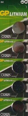 GP 5 X GENUINE CR 2025 3V LITHIUM BUTTON / COIN CELLS BATTERIES . Free Postage.