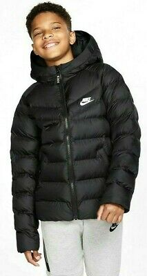 Nike Sportswear Junior Boys Girls Winter Warm Padded Puffa Jacket Coat Black Wht