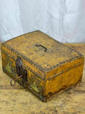 17th Century leather and wooden storage chest with key