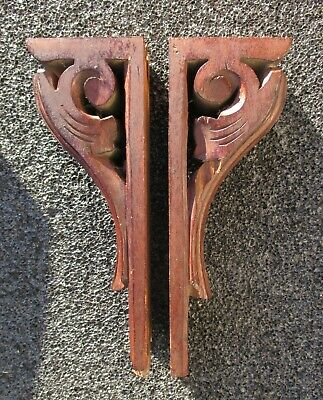 Antique Pair Walnut Wood Corbels Brackets Architectural Victorian Hand Carved