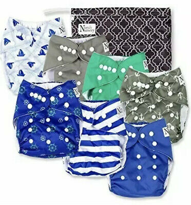 Nautical Baby Cloth Pocket Diapers 7 Pack 7 Bamboo Inserts 1 Wet Bag