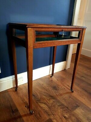 Edwardian Inlaid mahogany bijouterie Table display Collectors cabinet