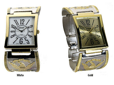 Azur: Womens' Gold And Silver Tone Eagle On Metal Band Analog Quartz Watch