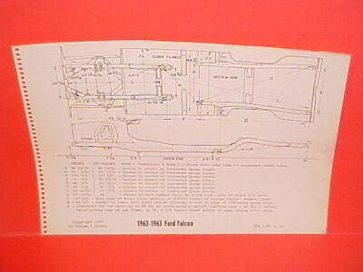 1962 1963 Ford Falcon Futura Sprint Convertible Ranchero Frame Dimension Chart