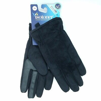 ISOTONER Men's size M SmartDri Smartouch Touchscreen Gloves Black Soft Winter